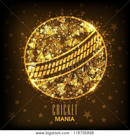 Golden abstract design decorated creative ball on brown background for Cricket Mania concept.