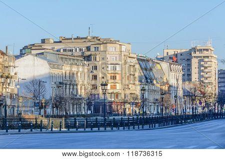 Bucharest, Romania - January 10: Downtown Bucharest On January 10, 2016 In Bucharest. Buildings, Emt