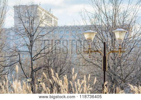 Bucharest, Romania - January 10: Bucharest Parliament On January 10, 2016 In Bucharest. Horizontal W