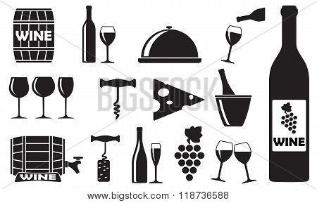 Wine icons set: bottle, opener, glass, grape, barrel. Vector illustration.
