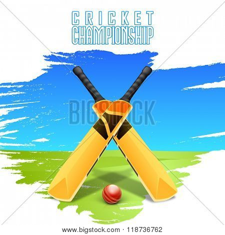 Creative glossy Bats with Ball on stylish blue and green background for Cricket Championship concept.