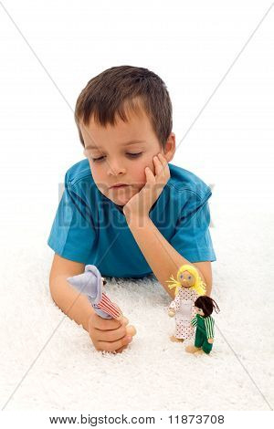 Divorce Effect On Kids  Concept With Thoughtful Boy