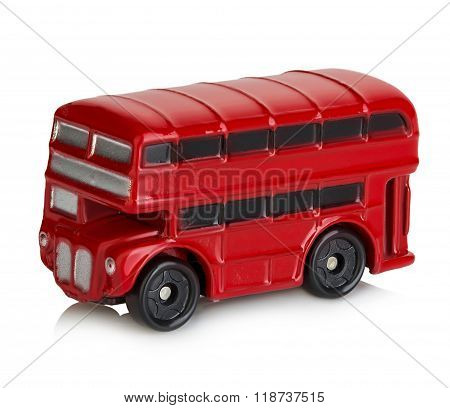 Model Of Classic Red London Bus Close-up Isolated On A White Background.