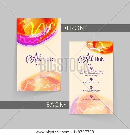 Stylish Vertical Business Card, Name Card or Visiting Card set with front and back presentation.