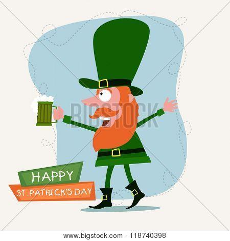 Funny Leprechaun holding beer mug and enjoying on occasion of Happy St. Patrick's Day celebration.