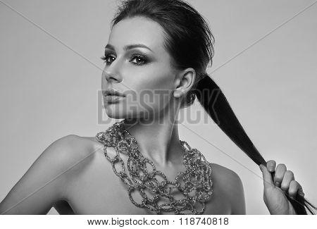 Portrait Of Beautiful, Glamorous, Sensual Brunette Model