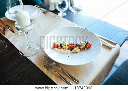 Food in restaurant on the table