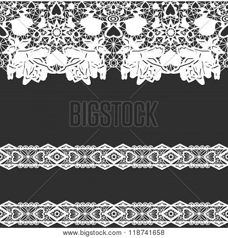 White Seamless Lace On Black