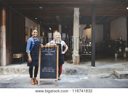 Cafeteria Barista Waitress Contemporary Bistro Concept