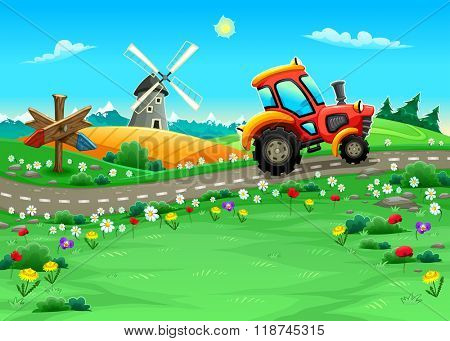 Funny landscape with tractor on the road. Cartoon vector illustration