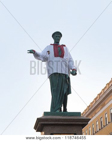 Odessa, Ukraine - August 24, 2015: Monument of Duke de Richelieu in Odessa dressed in embroidered