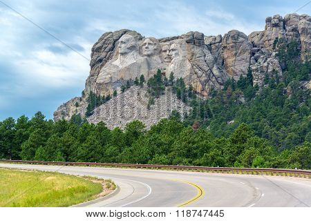 Highway And Mount Rushmore