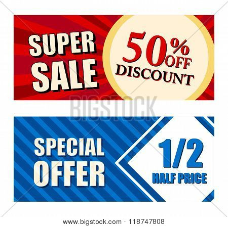 50 Percent Off Discount Super Sale And Special Offer Half Price, Two Vouchers