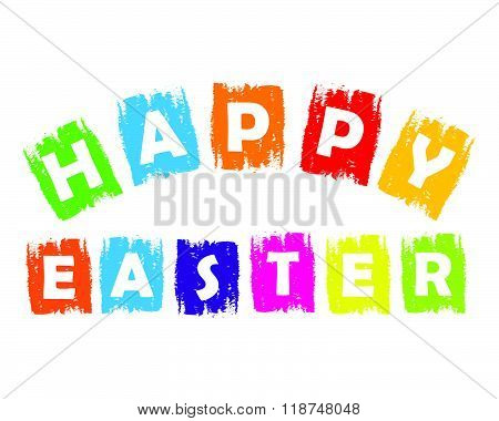 Happy Easter in colorful drawn labels, vector