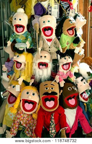 VANCOUVER-CANADA 16 february 2016: Bunch of puppets for kids to sell in a kids toys store.