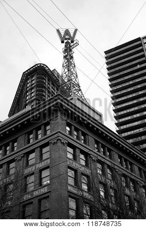 VANCOUVER-CANADA, 17 february 2016:  The Woodward's Building was a historic building in the Downtown East side of Vancouver.  It's redevelopment is now complete with many residents in the buildings.