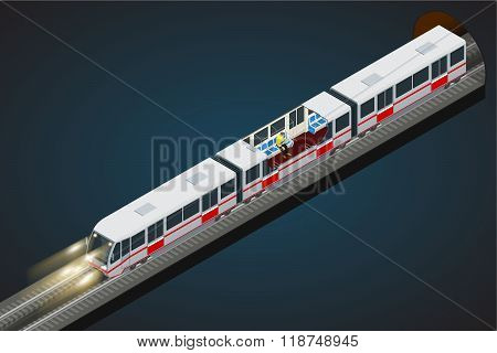 Vector flat 3d isometric illustration of a subway train. Train, Sky Train, Subway. Vehicles designed