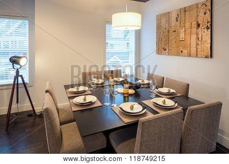 Bright dining room set for dinner. Interior design.