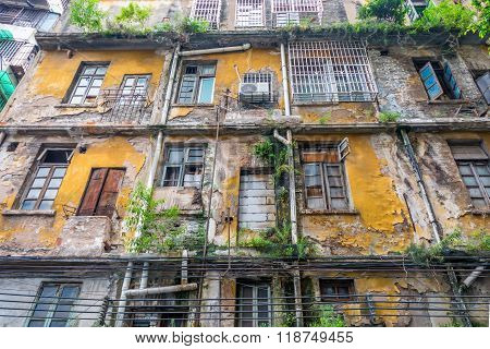 Facade of an old abandoned building