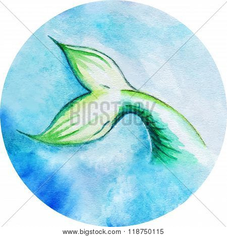 Watercolor Mermaid Fish Tail Vector Circle Isolated