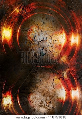 Color abstract background and desert crackle,  fire effect and lava structure. Copy space.