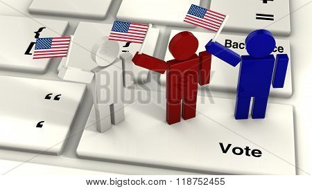 Three People Waving The American Flag On A Vote Key Of A Computer Keyboard