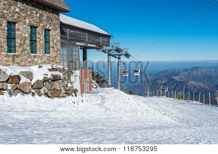 Ski Chair Lift Is Covered By Snow In Winter,deogyusan Mountains In South Korea.