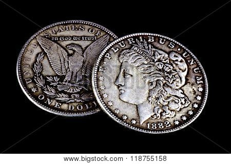Old Worn 1881 And 1882 Us Dollars