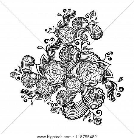 Zen-doodle flowers black on white