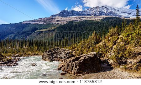 Takakkaw Falls Creek and Michael Peak in Yoho National Park
