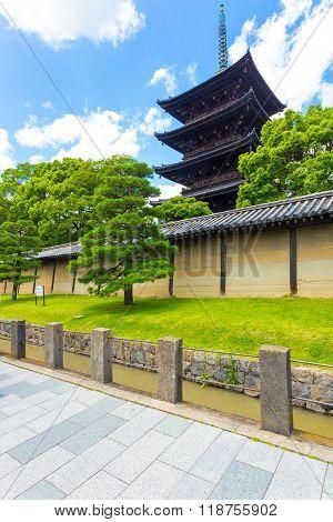Toji Five Story Pagoda Outside Wall Blue Sky V