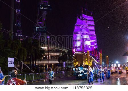 SINGAPORE - JAN 19, 2016: Unidentified participants Chingay Parade. The Chingay Parade is held during the Chinese New Year and is ranked as the largest street performance and float festival in Asia.