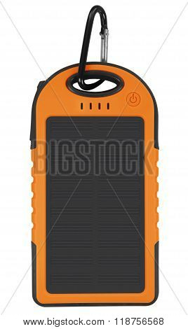 Power Bank With A Solar Panel - Orange