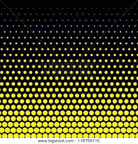 Cadmium yellow polka dot on black background