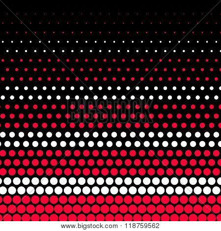 Carmine red and white polka dot on black background