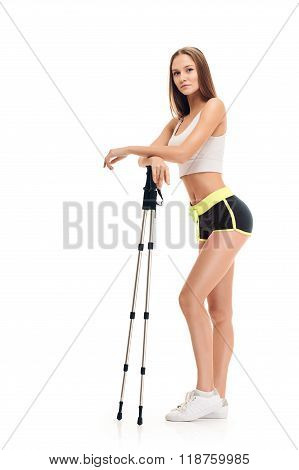 Nordic walking. woman full length portait