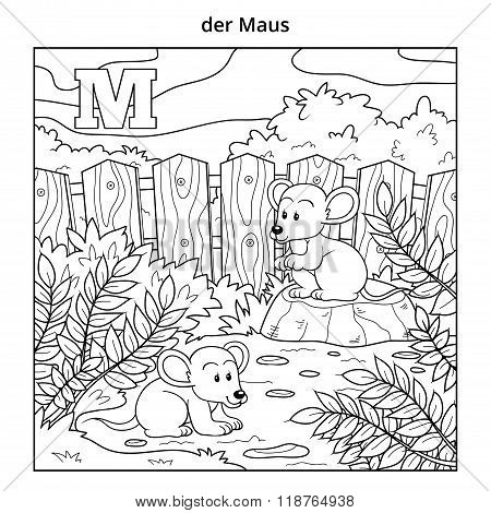 German Alphabet, Letter M (mouse And Background)