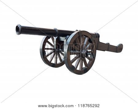 Iron Cannon Isolated Over White
