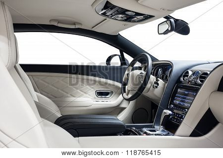 Car interior luxury dashboard & steering wheel