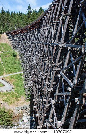 Side Of Wooden Railway Trestle