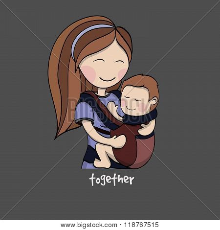 Mom With A Child In A Baby Carrier