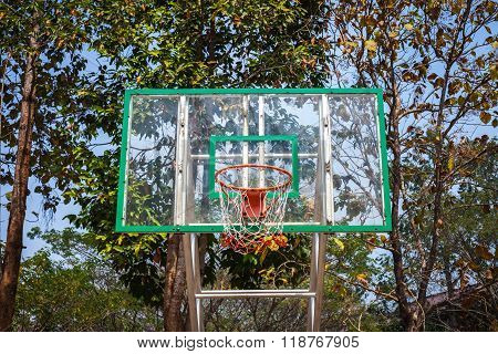 Basketball hoop on the nature at Mae Fah Luang University , Chiang-Rai Thailand