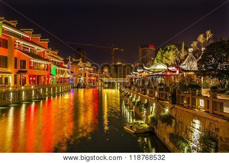 Water Canal Near Nanchang Temple Wuxi Jiangsu China Night