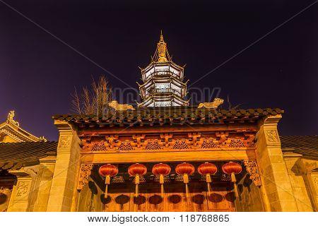 Buddhist Nanchang Temple Wooden Door Pagoda Wuxi Jiangsu China Night
