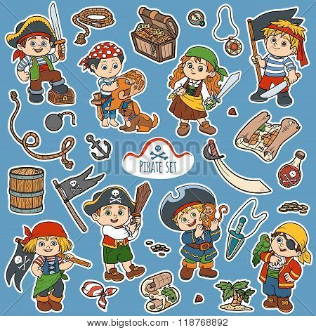 Vector Color Set Of Pirate Items, And Characters Of Pirates