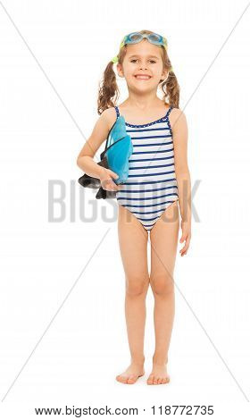 Little swimmer standing with flippers and goggles