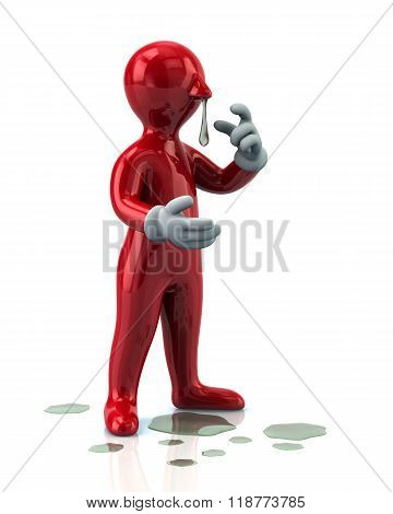 Illustration Of Red Man With A Flu And Running Nose