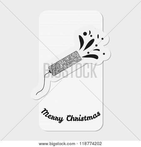 Shooting Slapstick With Abstract Doodle Pattern. Celebration Sign. Christmas Collection.