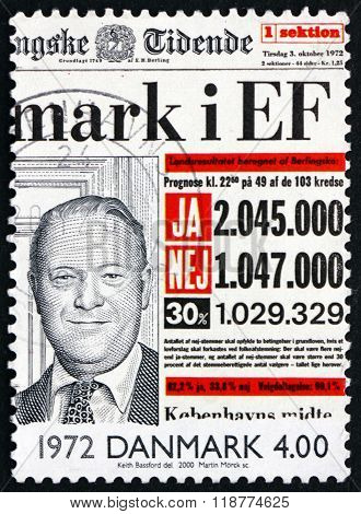 DENMARK - CIRCA 2000: a stamp printed in Denmark shows Entry of Denmark into European Community on Front Page of Newspaper 1972 circa 2000