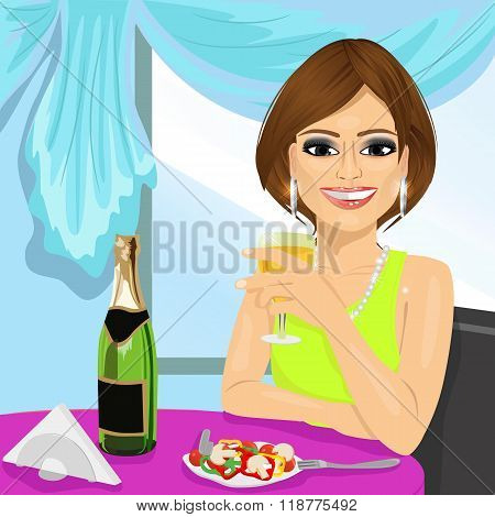 attractive woman dining at restaurant